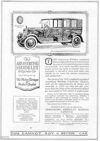 Armstrong Siddeley - 1921 5-litre 30hp Landaulette Advert