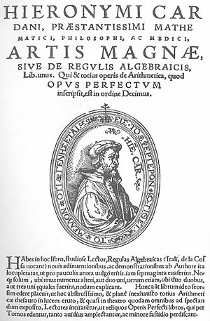 Ars Magna (Gerolamo Cardano) - The title page of the Ars Magna. The full title is Artis Magnæ, Sive de Regulis Algebraicis Liber Unus (Book number one about The Great Art, or The Rules of Algebra).