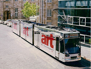 Trams in Kassel - Tram no 458 with art – Das Kunstmagazin wrap advertising, for documenta X, 1997.