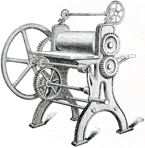 Cross-hatched drawing of a Rolling Machine
