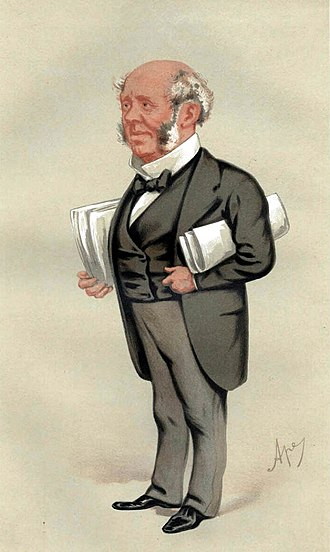 """Arthur Kinnaird, 10th Lord Kinnaird - """"Piety and Banking"""". Caricature by Ape published in Vanity Fair in 1876"""
