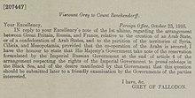 Acuerdos de Asia Menor - Vizconde Gray, Ministerio de Relaciones Exteriores (Londres) al Conde Alexander Konstantinovich Benckendorff, 23 de octubre de 1916.jpg