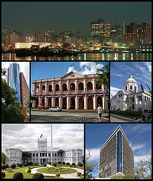 From the top to bottom, left to right: skyline of the city from the Paraguay River, Citibank Tower, the Cabildo of Asunción, the National Pantheon of the Heroes, Palacio de los López, Hotel Guaraní