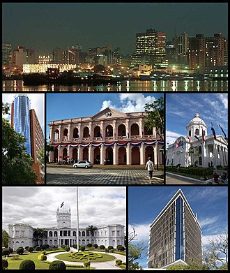 Asunción - From the top to bottom, left to right: skyline of the city from the Paraguay River, Citibank Tower, the Cabildo of Asunción, the National Pantheon of the Heroes, Palacio de los López, Hotel Guaraní