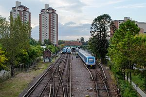 Tigre, Buenos Aires - Mitre Line CSR Electric Multiple Units at Tigre train station.