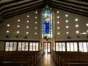 Ateneo de Manila University - Chapel of the Holy Guardian Angels in the Grade School, looking up the aisle