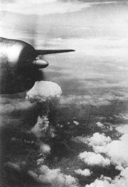 Atomic cloud over Nagasaki from B-29