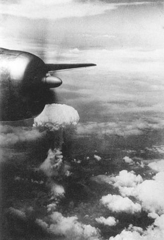 Bockscar - The mushroom cloud as seen from one of the B-29s on the mission