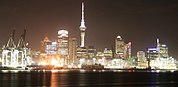Auckland waterfront at night