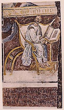 Älteste bekannte künstlerische Fantasiedarstellung von Augustinus in der Tradition des Autorbildes (Lateranbasilika, 6.Jahrhundert) (Quelle: Wikimedia)