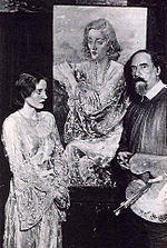 Augustus John with Tallulah Bankhead and her portrait (1929)