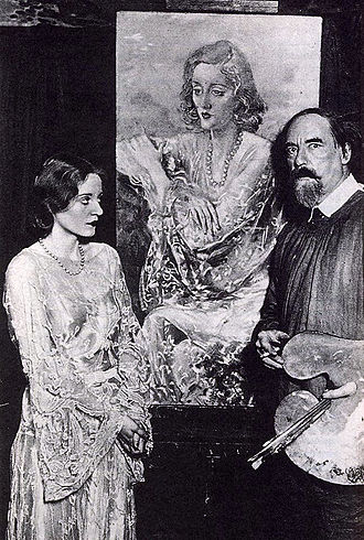 Augustus John - Augustus John with Tallulah Bankhead and her portrait (1929).