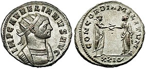 "Aurelian - Aurelian was a military commander, and during his reign he tried to keep legions' fidelity; this coin celebrated the CONCORDIA MILITVM, ""concord of the soldiers"" – in other words, ""harmony between the emperor and the military""."