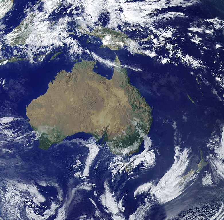 Satellite image of Oceania in 2001-08-07