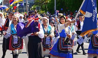 Greek Australians - Greek Australians during a parade for Australia Day in Melbourne (2014)