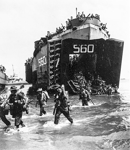 Australian soldiers disembarking from a US Navy LST at Labuan on 10 June 1945 Australian troops land from USS LST-560 at Labuan on 10 June 1945.jpeg