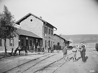 Palestine Railways - Samakh station, shortly after being captured by Australian light horsemen on 25 September 1918