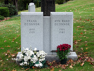Ayn Rand - Grave marker for Rand and her husband at Kensico Cemetery in Valhalla, New York