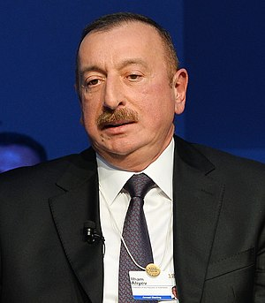Azerbaijani President Ilham Aliyev attended Strategic Outlook Eurasia session during World Economic Forum 2018 in Davos (cropped).jpg