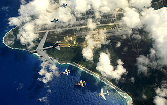 23rd Bomb Squadron - A B-52H with a Navy EA-6B Prowler and Japanese F-2-fighters during exercise Cope North 09-1 in February 2009 over Andersen Air Force Base