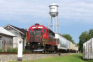 Louisa County, Virginia - A local train of the Buckingham Branch railroad passes the C&O Depot and water tower in Louisa.