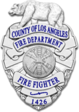 Patch of the LACoFD, worn on the LACoFD's uniform shirt sleeves.