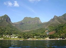 Image of the town of San Juan Bautista in Cumberland Bay, Robinson Crusoe Island