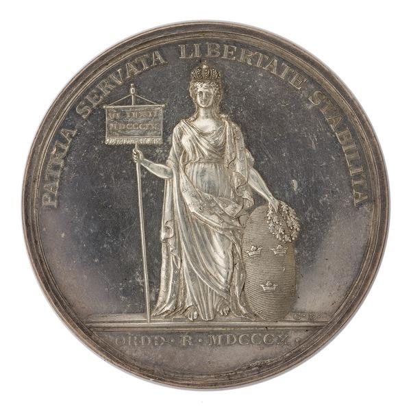 File:Baksida av medalj med bild av moder Svea, 1810 - Skoklosters slott - 99575.tif