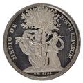 Baksida av medalj med chariter som dansar runt ett träd - Skoklosters slott - 99398.tif