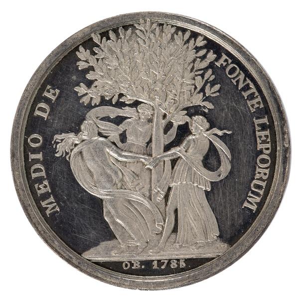 File:Baksida av medalj med chariter som dansar runt ett träd - Skoklosters slott - 99398.tif