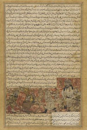 Balami - Tarikhnama - The Battle of Hunayn - The Prophet's life is threatened.jpg