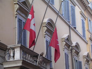 Andrew Bertie - Flags flying at half-staff over Palazzo di Malta, headquarters of the Sovereign Military Order of Malta, after the death of the Grand Master Andrew Bertie