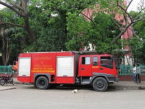 Bangladesh Fire Service & Civil Defence - A firefighting van of Bangladesh Fire Service.