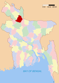 Location of Gaibandha in Bangladesh