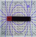Bar magnet on compass board with field lines.png