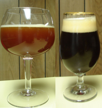 Barley wine - Barley wine ranges in colour from translucent deep amber, to cloudy mahogany (left), to near opaque black (right).