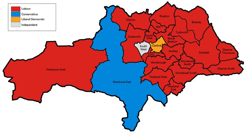 Barnsley UK local election 1999 map