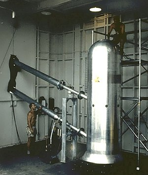 Nuclear weapon design - Bassoon, the prototype for a 9.3-megaton clean bomb or a 25-megaton dirty bomb. Dirty version shown here, before its 1956 test. The two attachments on the left are light pipes - see below for elaboration.