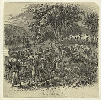 Illinois - Native women and children fleeing the Battle of Bad Axe during the Black Hawk War
