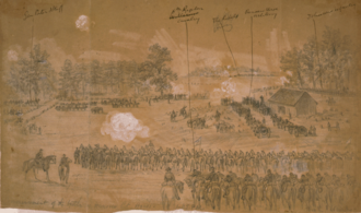 Battle of Hanover Court House - Commencement of the  battle of Hanover Ct. House. 1:45 PM. Alfred R. Waud, artist, May 27, 1862.