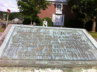 Battle of McDowell - Plaque marking battle, placed in front of the Presbyterian Church