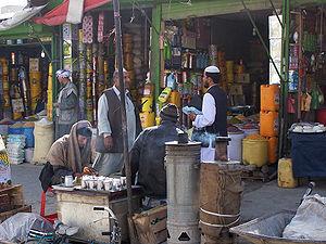 An old bazaar scene in Kabul City, Afghanistan.