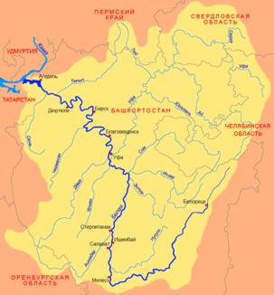 Lage des jurjusan юрюзань im einzugsgebiet der belaja