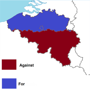 Belgian monarchy referendum, 1950 - Image: Belgian monarchy referendum, 1950 results by region