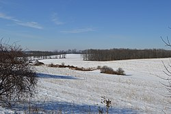 Snow-covered fields west of Saltsburg