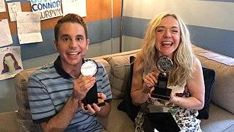 Ben Platt (actor) - Platt and Dear Evan Hansen cast member Rachel Bay Jones with their Tony Awards.