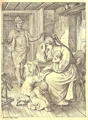 "Hans Bendel - Illustration for Pestalozzi's ""Lienhard und Gertrud""."