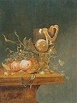 Berkborcht, Gillis van - Stilleben mit verschiedenen Früchten, einem großen Römerglas und einer Uhr auf einer Tischkante1650.jpg