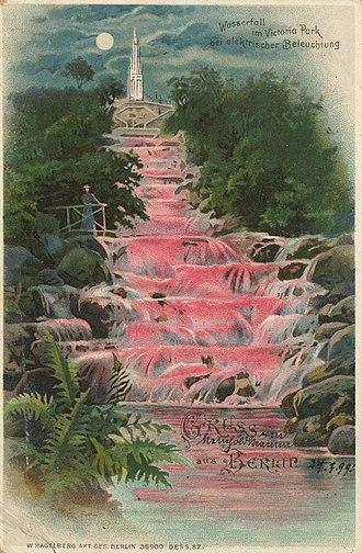 Viktoriapark - Kreuzberg waterfall with so-called electric Bengal illumination, 1898–1914.