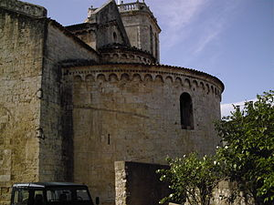 County of Besalú - The aft exterior of the nave of the church of San Pere, dedicated in 1003. It was the cathedral of the short-lived diocese of Besalú.